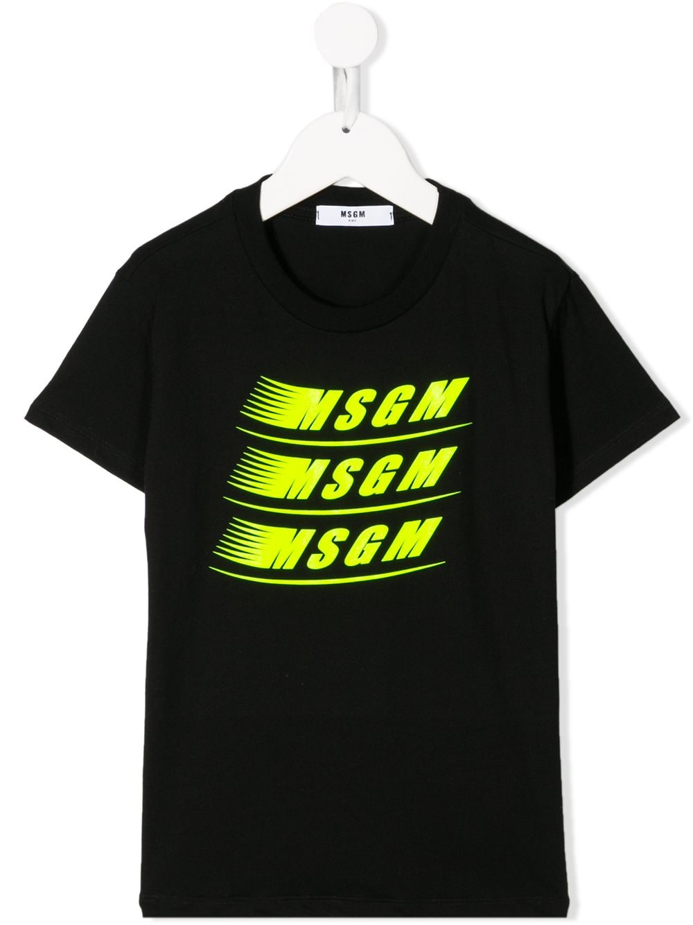 MSGM Black T-shirt with dashing yellow logo