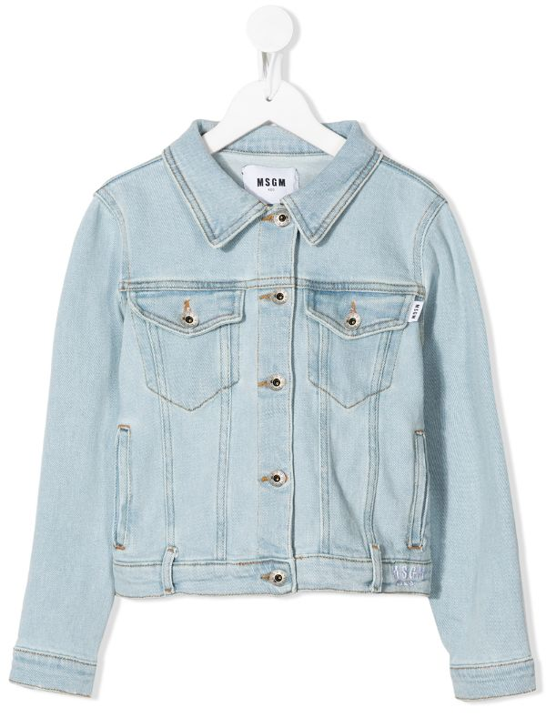 A characteristic classic children's denim jacket with MSGM logo printed on the back