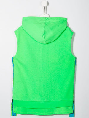 Fluorescent Green Logo Side Tape Sleeveless Hoodie