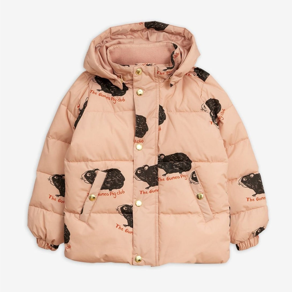 Pink lightweight puffer jacket with down-touch padding. Cute guinea pig print all-over.