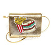 BURGER METALLIC SILVER CROSS BAG