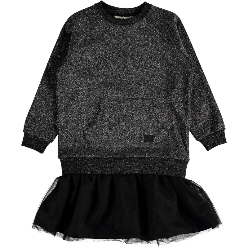 Carasala isn't just any festive dress. The top is comprised of a sweatshirt with glitter, and the bottom of the dress is a black tulle skirt.