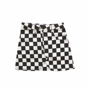 Ammehoela Black and White Checkered Skirt