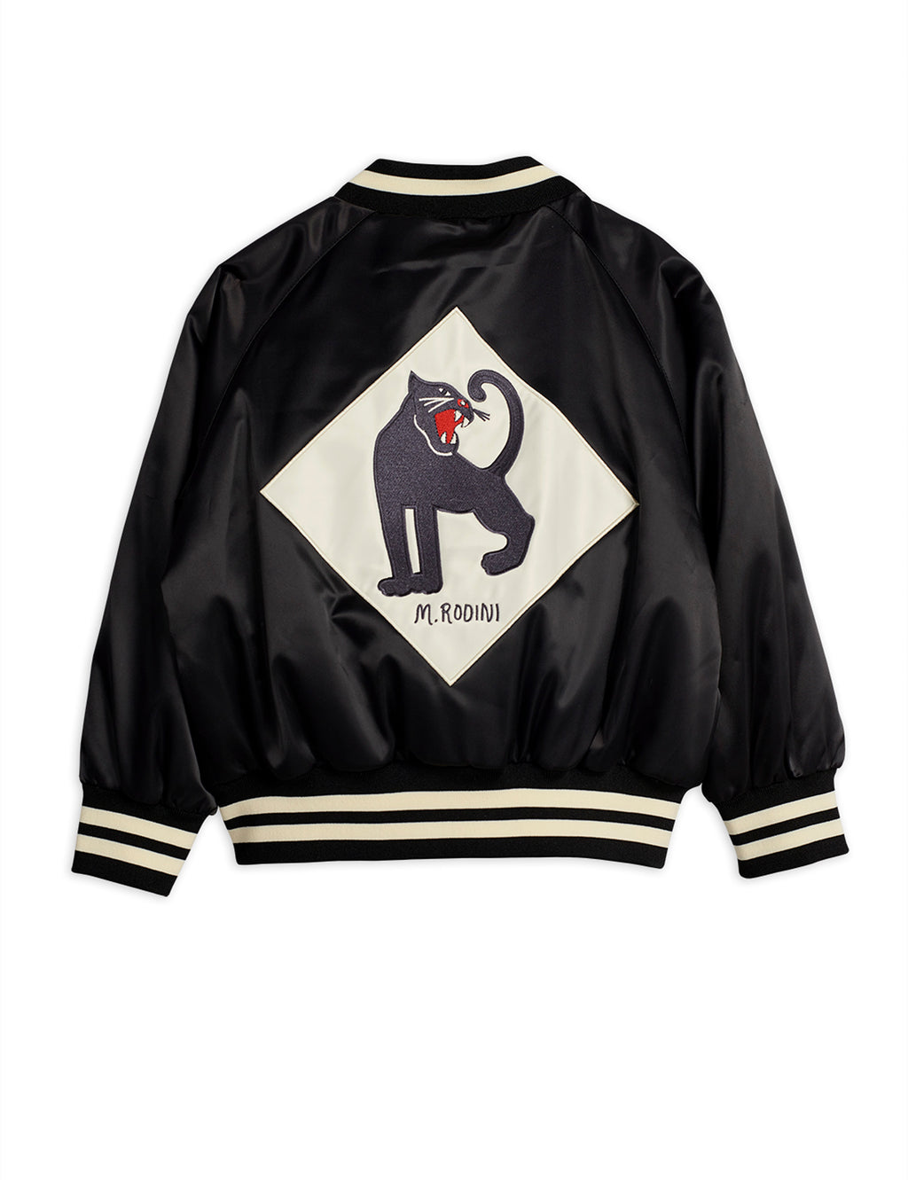 Black baseball jacket made with recycled polysatin with a water-repellent BIONIC-FINISH® ECO coating. The jacket features the iconic panther on the back and at the front.