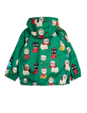 Warm green jacket with a cute cat and dog print all-over featuring a hood, elasticated cuffs, and drawstring hem. Designed by Mini Rodino, an eco-friendly designer of creative kids apparel from Europe.