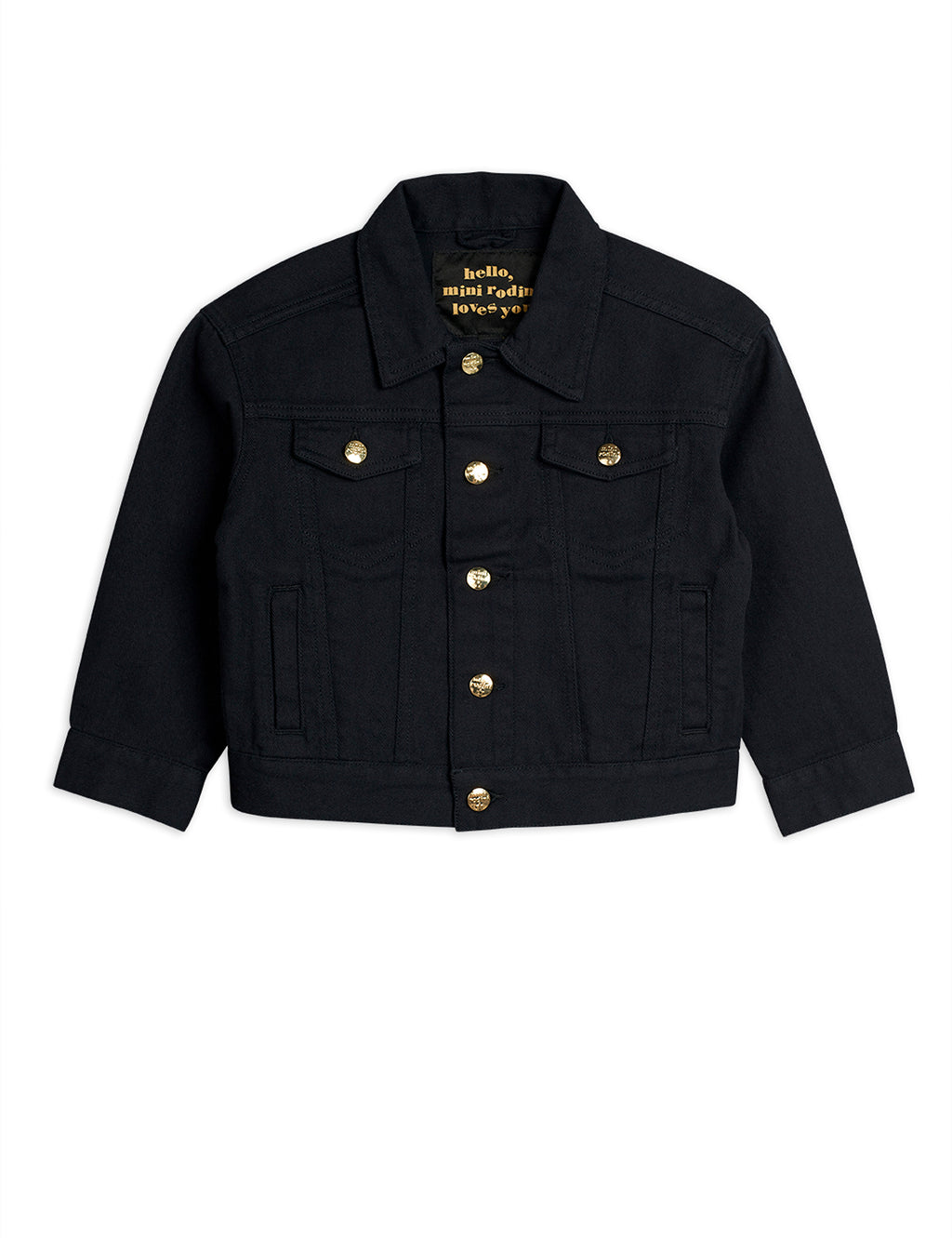 Mini Rodini black denim jacket with with two front flap pockets at the chest, two single welt pockets on the side.