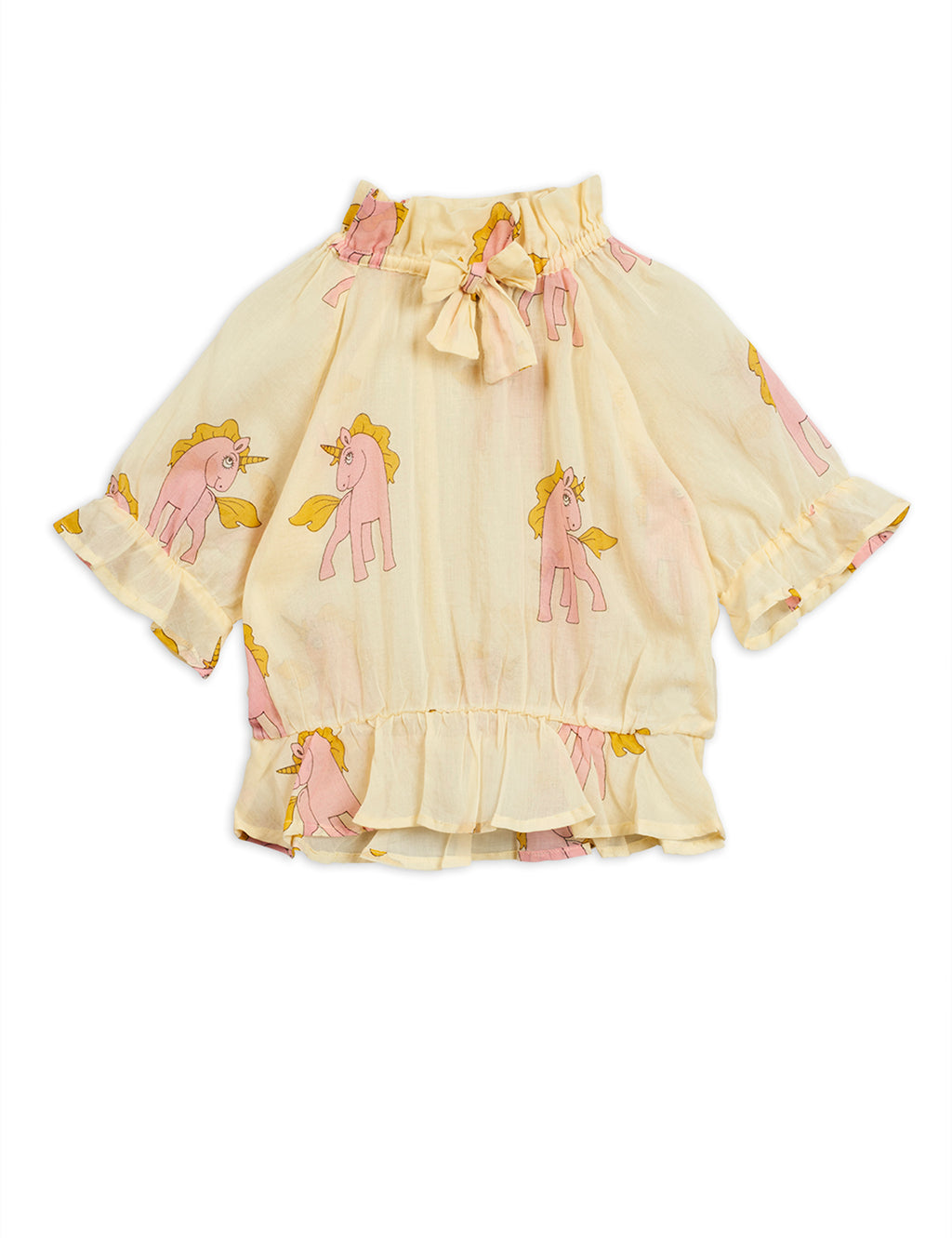 Yellow woven bow blouse with a magical pink unicorn print all-over.