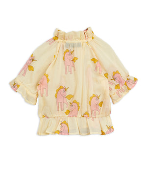 Girls Yellow Unicorn Cotton Blouse