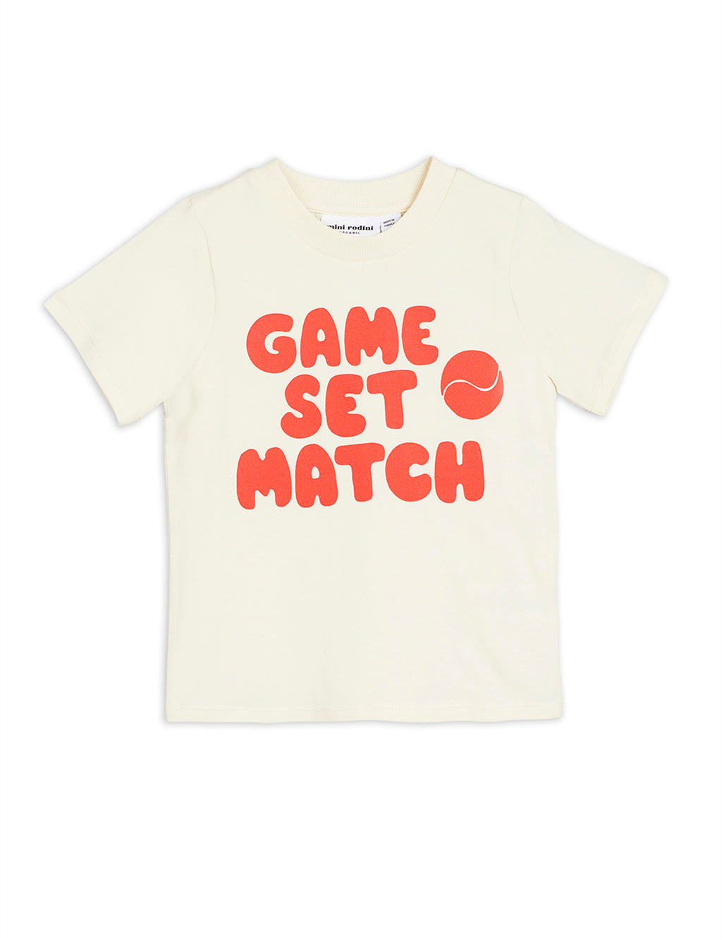 "Natural color cotton T-shirt with a distinctive Red or Blue ""Game, Set, Match"" text embedded on the front."