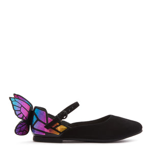 From the British fashion brand Sophia Webster, known for their bold and beautiful footwear. Crafted with a matte leather black patent finish featuring the brand's iconic 3D butterfly detail at the heel.