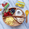 Toddler's bamboo divided suction plate with bamboo spoon. Organic dining ware for baby or toddler.