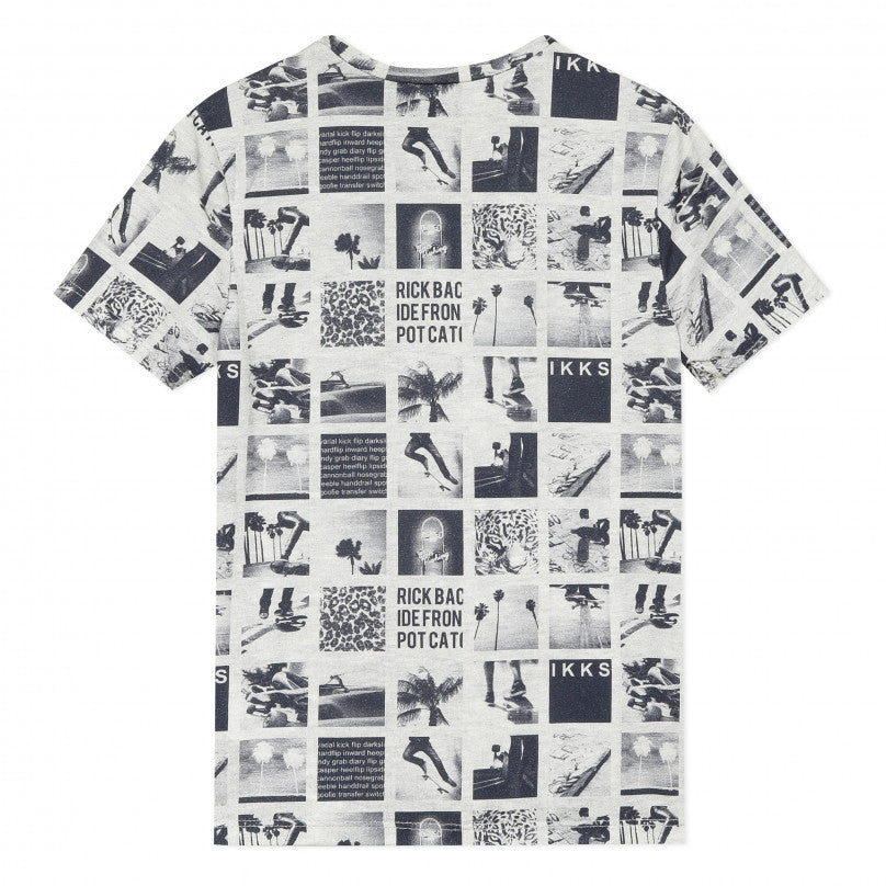 Trendy artistic T-shirt for boys with retro collage pattern.  Designed by IKKS.