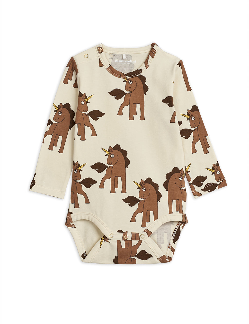 Organic beige cotton bodysuit. Patterned with a magical unicorn print.