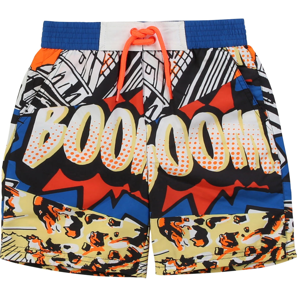 Boy Comic Print Swim Shorts