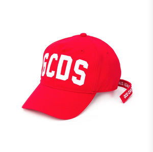 Red and White Logo Embroidered Baseball Cap