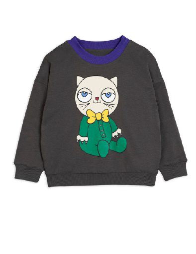 Dark grey organic cotton reversible sweatshirt. One side has a cat print and on the other a dog print.