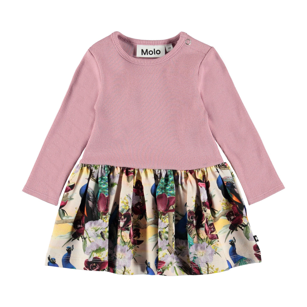 Carel is a long sleeve baby dress in a two-part look with a rose coloured rib top and the 'Oriental Peacocks' print on the bottom. This product is Oeko-Tex certified.