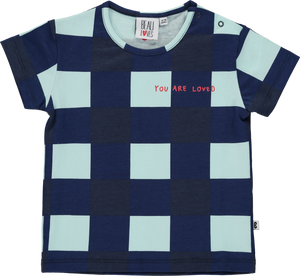 Adorable light green base t-shirt with a Gingham all-over print in navy. 'YOU ARE LOVED' embroidery in red lettering at the front and red logo mask at the back.  All Beau Loves clothes are gender-neutral and designed to be mixed and matched.