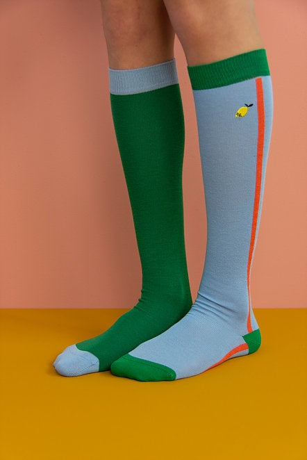Knee High Socks Color Blocking
