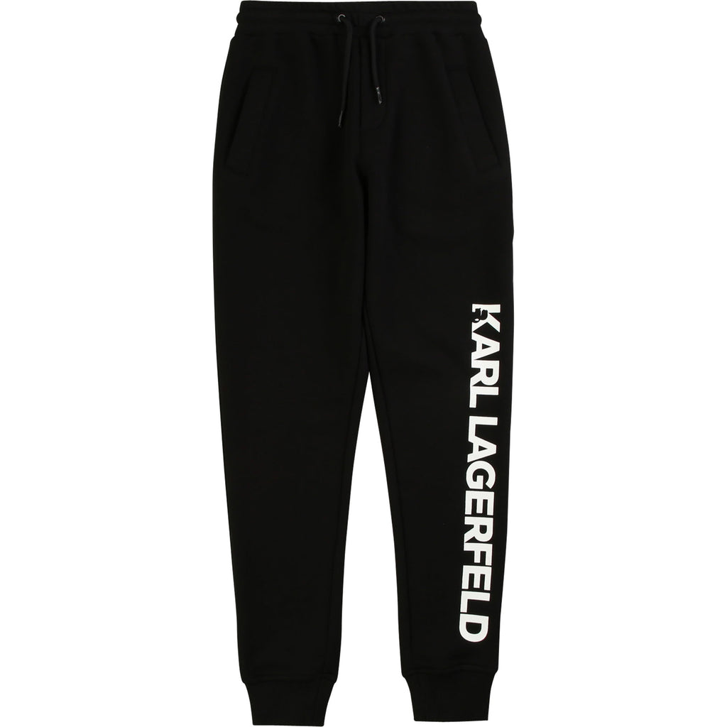 Black cotton french terry joggers with distinctive Karl Lagerfeld logo printed in white lettering. Karl Lagerfeld was most well known as the creative director of Fendi and Chanel.