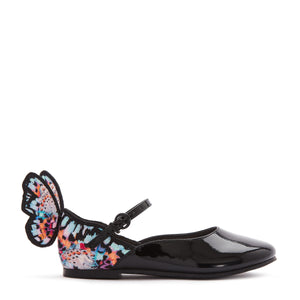 From the British fashion brand Sophia Webster, known for their bold and beautiful footwear. Crafted from soft and flexible leather with a black patent finish featuring the brand's iconic 3D butterfly detail at the heel.