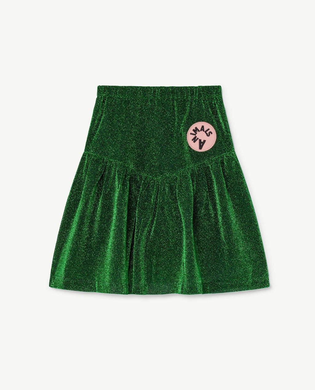 This electric green skirt is a pull-on skater style skirt in a whimsical all-over print with a V-shaped center panel and slightly gathered skirt.