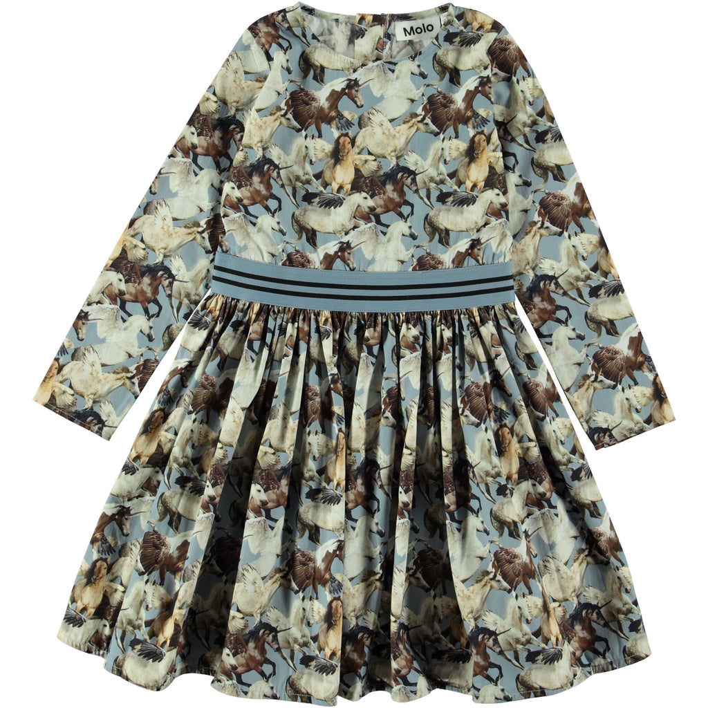 Christin is a poplin dress with the 'Celestial Unicorns' print. Christin has long sleeves, a striped band at the waist and a zip closure at the neck.