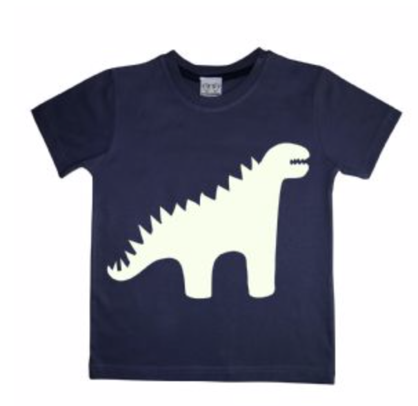 A glow in the dark interactive sweatshirt that lights up with the torch provided. The dinosaur design can be directly drawn onto with a small penlight.