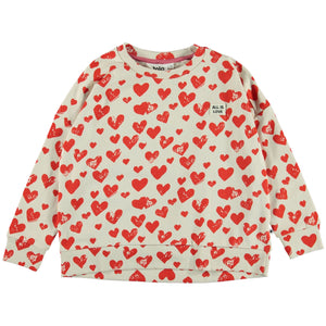 All is Love' is the name of the heart print that covers the cotton Mandy sweatshirt. Mandy has dropped shoulders and rib at the sleeves, neck and bottom. This product is Oeko-Tex certified.