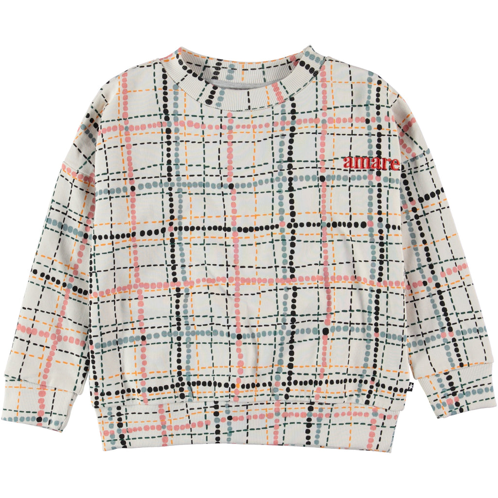 "Sweatshirt with plaid pattern blue, pink, and black dotted lines. Word ""amare"" embroidered at the right corner in red."