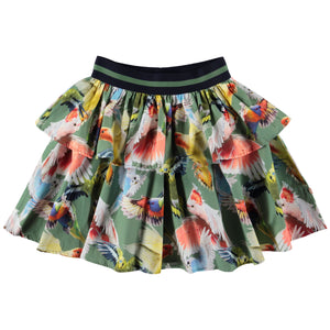 Let your imagination take flight with the parakeets printed on the Brianna skirt. It has a two-part skirt and an elastic waist with stripes.