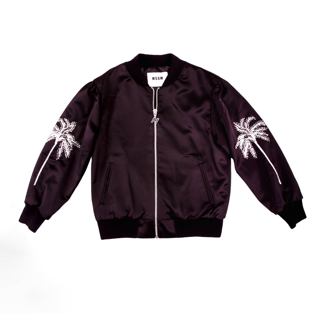 Stylish and classic black bomber jacket with detail palm trees embroidery on the sleeves. Designed by MSGM