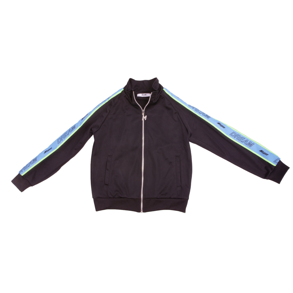 Black and aqua zip up logo stripe track jacket from MSGM Kids featuring a stand up collar, a front button fastening, long sleeves, elasticated cuffs, an elasticated hem, a relaxed fit and a stripe detail to the side.