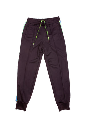 black side logo band track pants from MSGM Kids featuring a mid-rise, an elasticated waistband, side slit pockets, ribbed cuffs and a regular length.