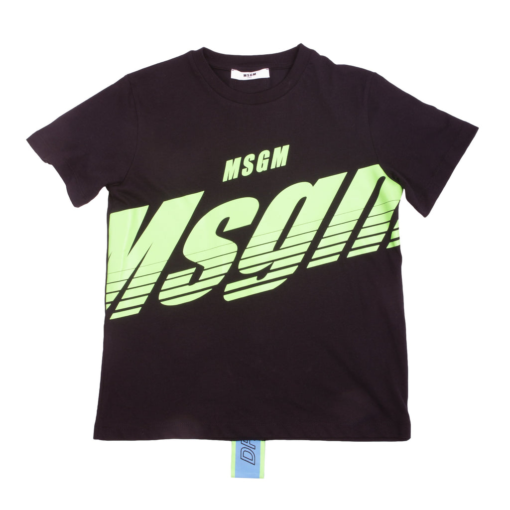 Black cotton logo print T-shirt from MSGM Kids featuring a round neck, short sleeves and a straight hem. Stylish MSGM logo tape down the center back.