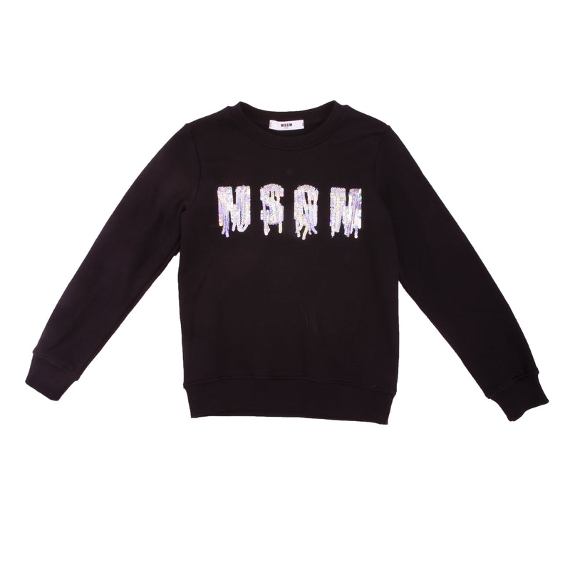 Black cotton sequin logo jumper with an urban style embroidered logo for both kids and teens.  Featuring a round neck, long sleeves, a ribbed hem and cuffs and a central embroidered design.