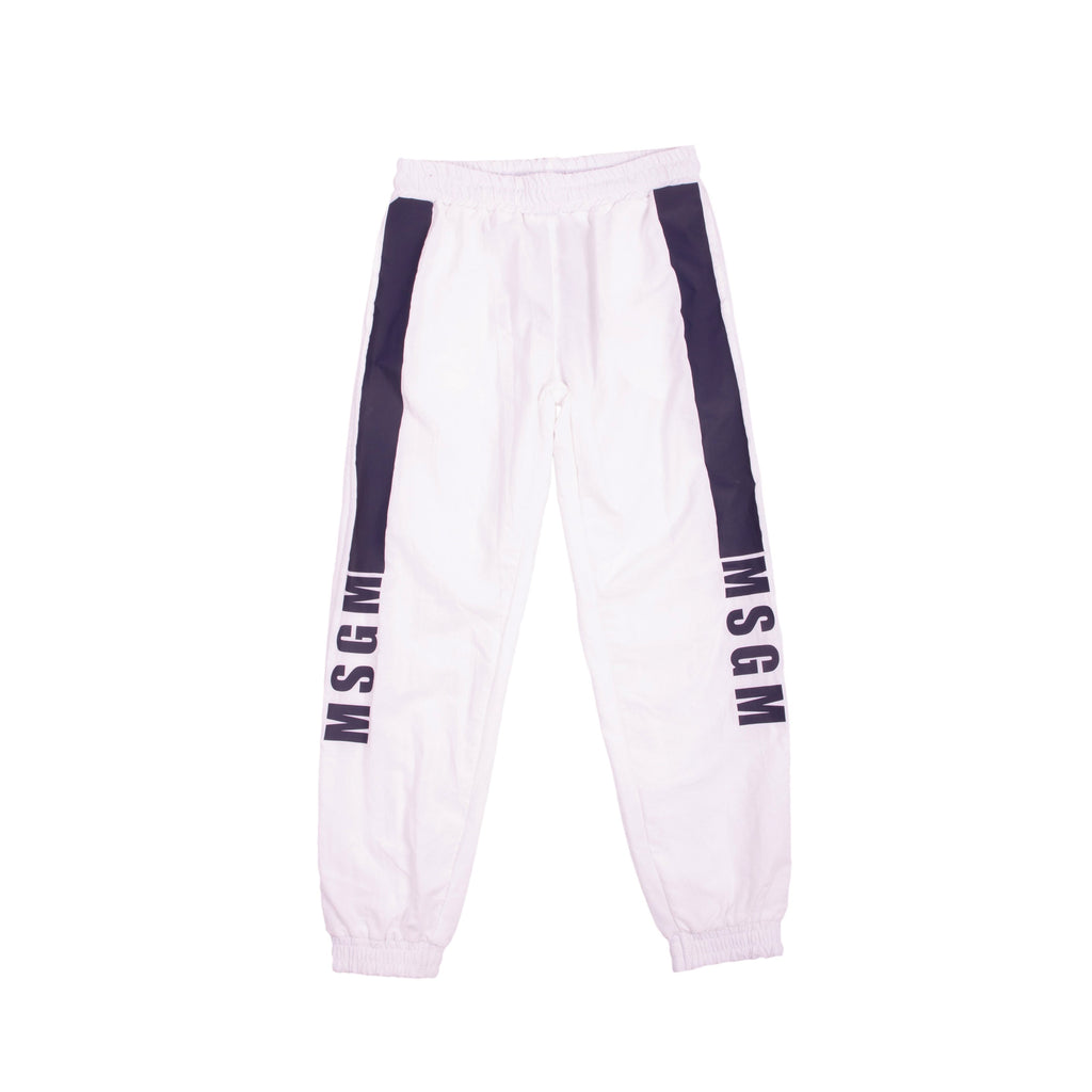 White Logo Stripe Track Pants