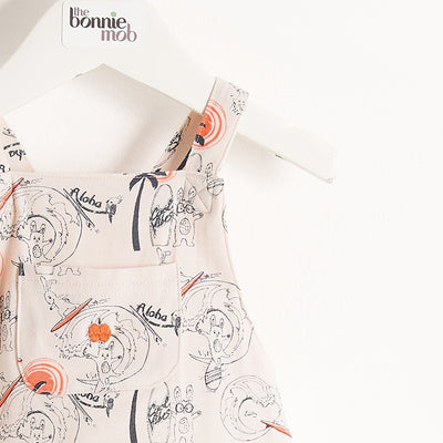 DUNGAREE STYLE PRINTED ROMPER/BUBBLE