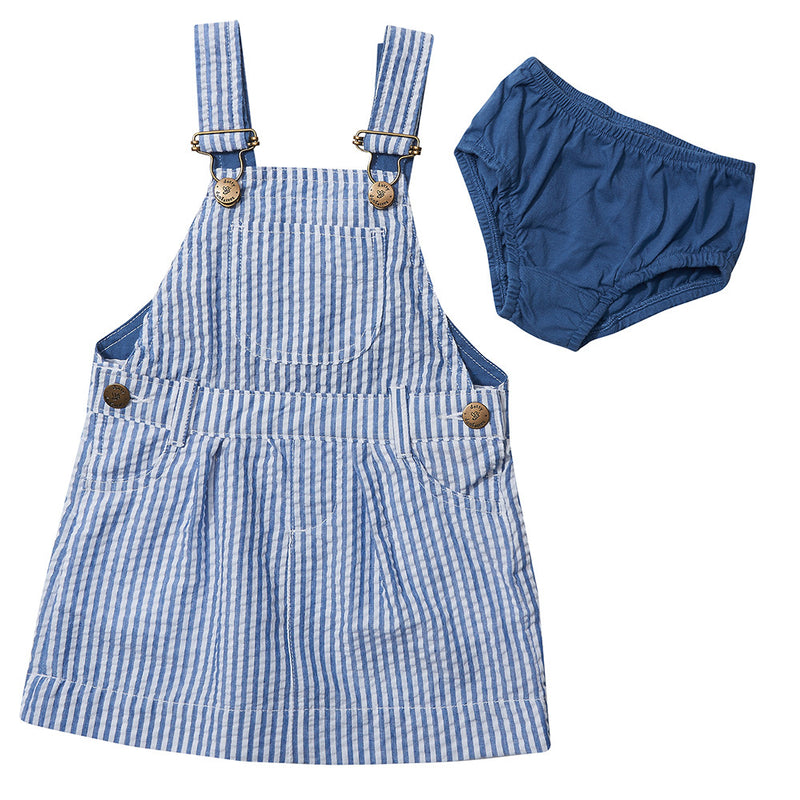 Blue and white  vertical stripe dungaree dress. Comes with a blue pantie.