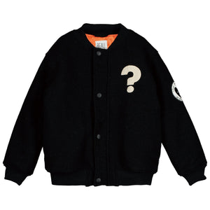 Bomber Wool Jacket-BLACK+ORANGE