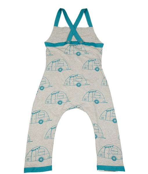Doodle Do GOTS-certified dungaree in grey jersey fabric and turquoise tent print contrast.