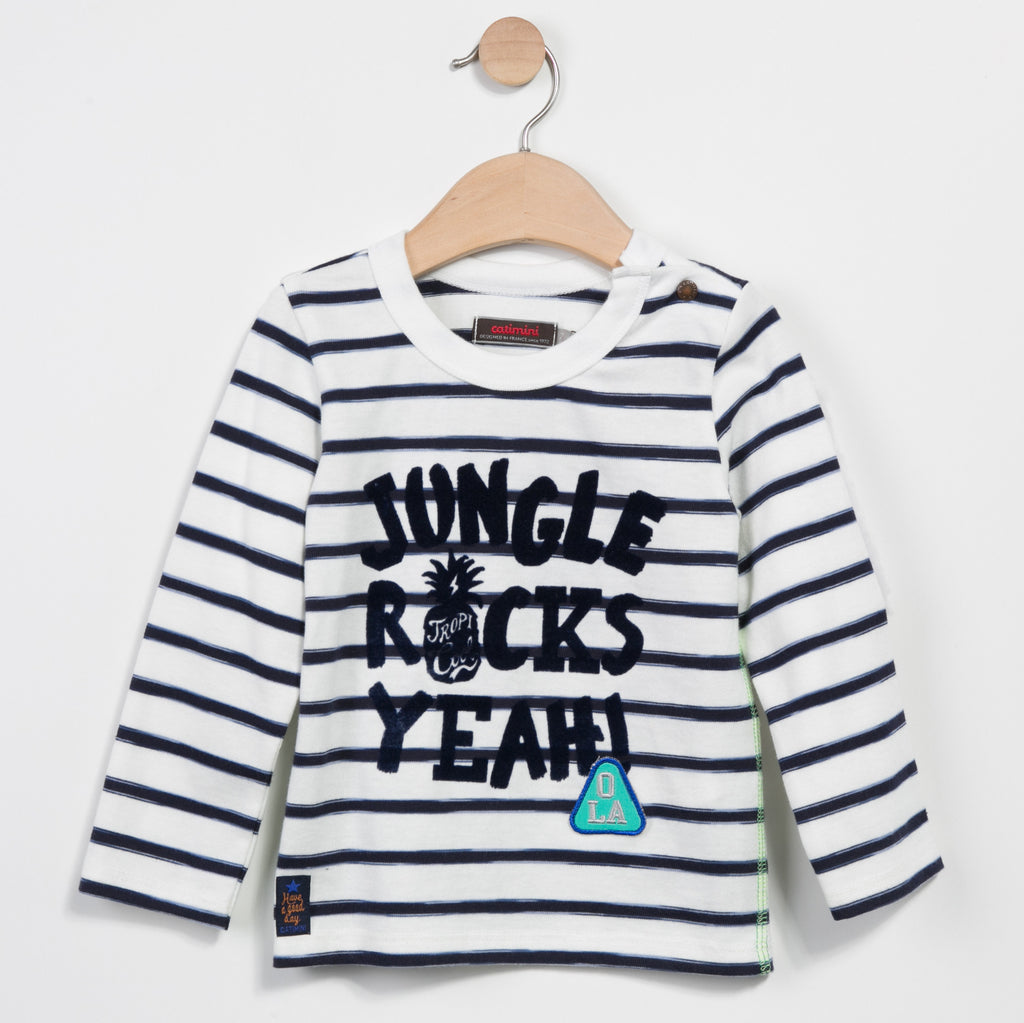"A rocking navy stripe Long sleeve t-shirt made with quality fabric. Thick letters with ""Jungle Rock Yeah"" written in velvet across the front with in velvet with an embroidery patch."