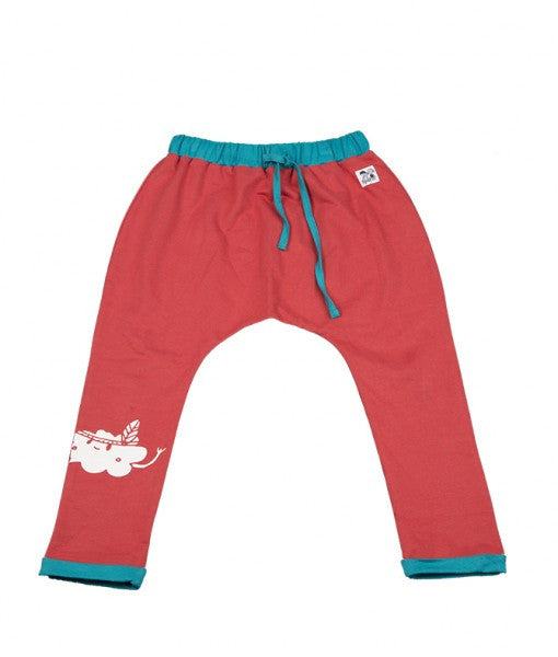 Doodle do GOTS-certified organic cotton red harem style pants with turquoise contrast. It has drawstring at the waist and cute cloud print on one leg.