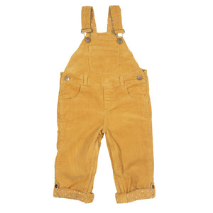 Corduroy dungaree with adjustable straps, bespoke buttons & buckles, super soft outer fabric, turn-ups for extra room to grow, zip access for easy nappy changes.