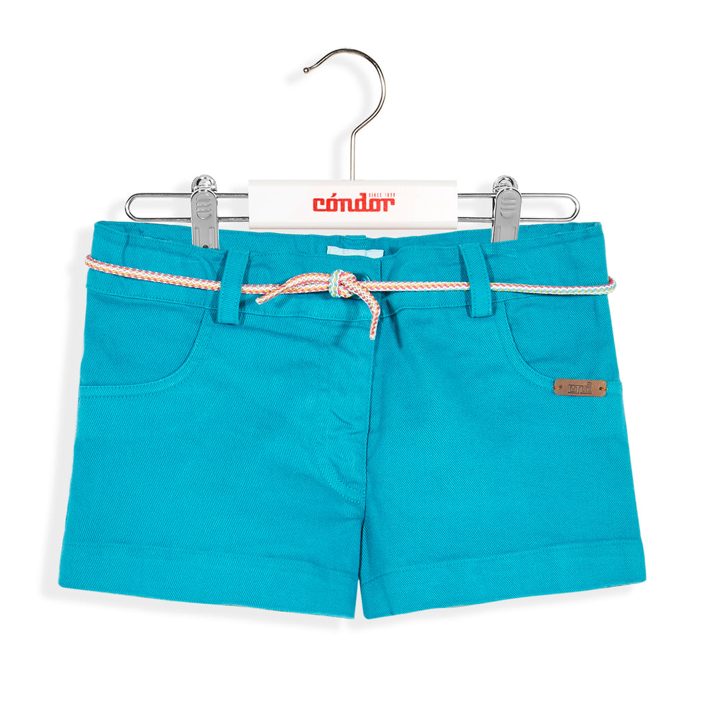 Turquoise Cotton Twill Shorts