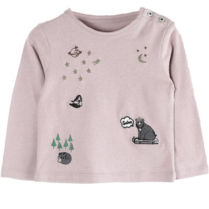 Aux Pays Des Chouchous carries a wide range of designer clothes for children to tap into their individuality and creativity. Dreamlike long sleeve Tee with detailed Night sky and Animals embroideries. Created for quality comfort. Dressed for the playgrounds, after-school snack, holidays, week-end and happy days!    A true original design by the stylists and designers at Émile et Ida. 100% Cotton. Shoulder Buttons. Made in Portugal.