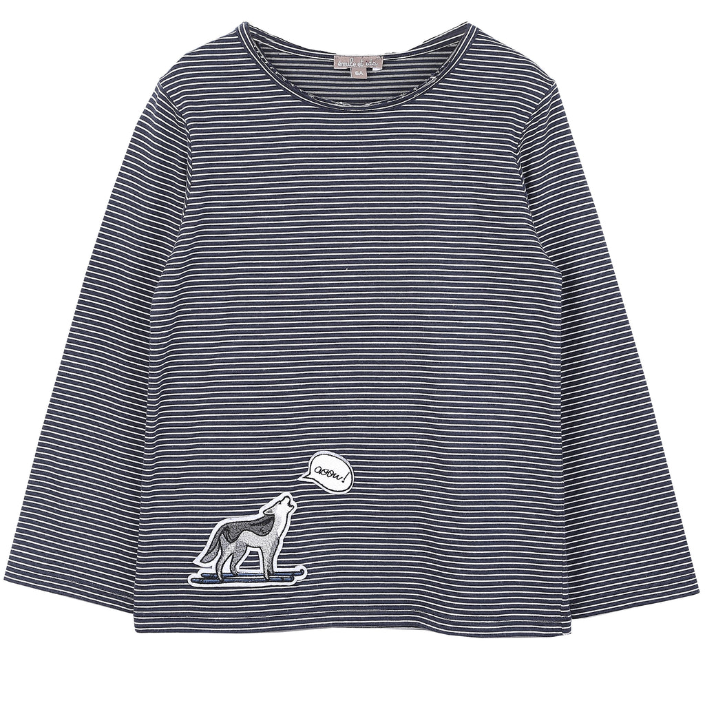 Aux Pays Des Chouchous carries a wide range of designer clothes for children to tap into their individuality and creativity. A soft cotton and modal blend (50%/50%) navy tee. Designed with thin white stripes, long sleeves, round neck, and an embroidered wolf on the hem. Light and stretchy.  Made in Portugal