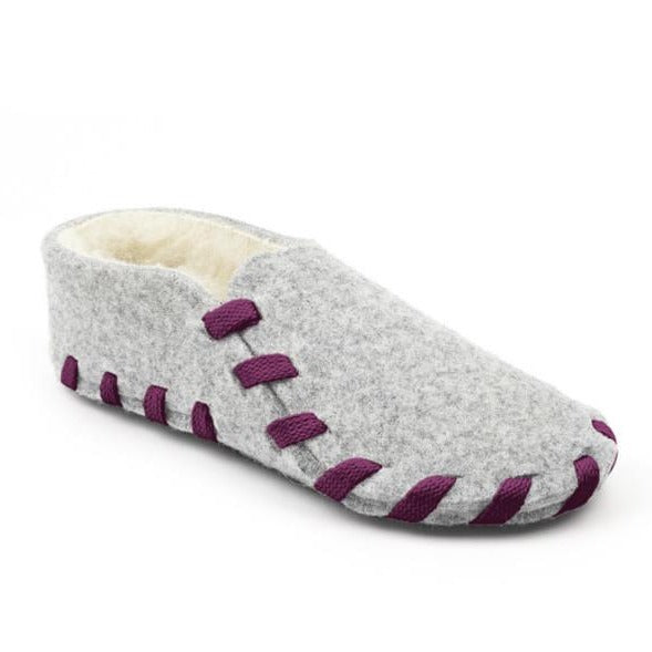 Furry Kids Laced Up Wool Felt Slipper