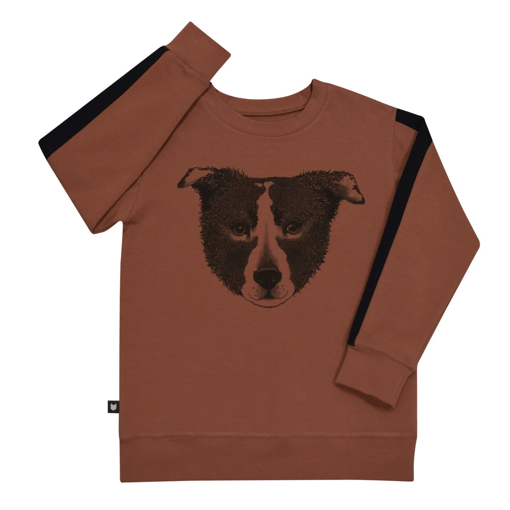 Rusty brown color sweatshirt with sketched dog head print and black panel on sleeve sides.