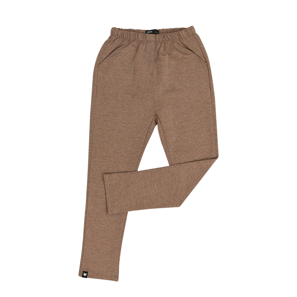 Warm brown pants with elastic waistband and side pockets.